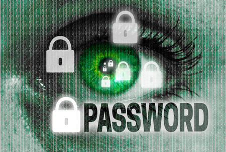 spy ware: password eye looks at viewer concept.