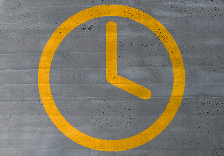 closing time: clock icon on cement concept background.