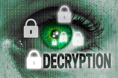 private i: decryption eye looks at viewer concept.