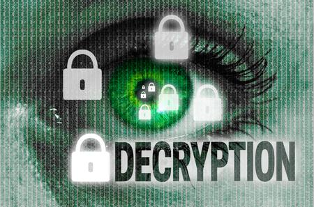 decryption: decryption eye looks at viewer concept.