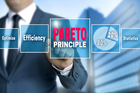 touchscreen: Pareto touchscreen is operated by businessman.