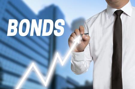 bonds trader draws market price on touchscreen.