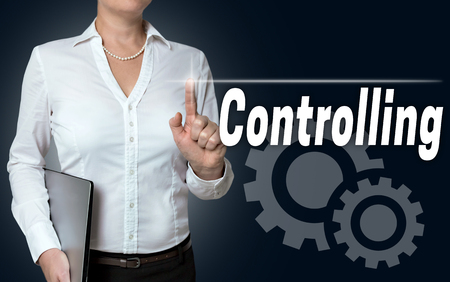 touchscreen: controlling touchscreen is served by businesswoman.