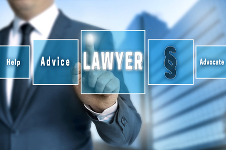 touchscreen: lawyer touchscreen is operated by businessman.