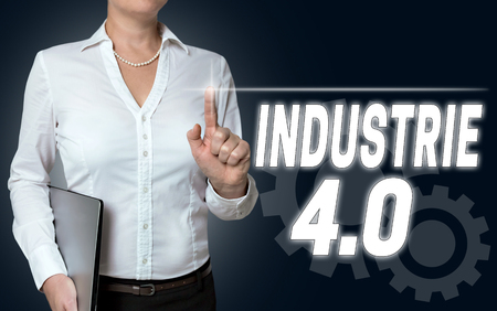 industrie: industrie 4.0 in german industry touchscreen is operated by businesswoman Stock Photo