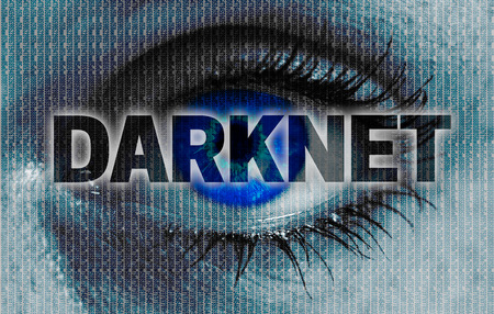darknet eye looks at viewer concept background.