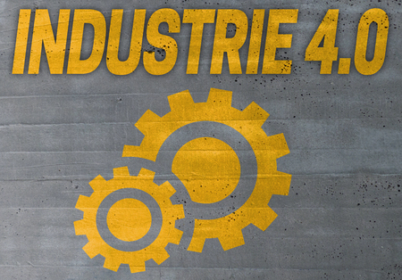 40: industry 4.0 in german industire 4.0 icon on cement concept background.