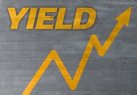 yield graph concept on cement texture background.