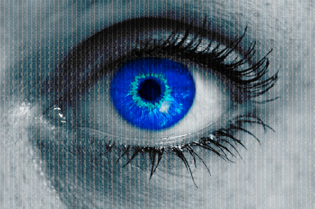 looking at viewer: futuristic eye with matrix texture looking at viewer.