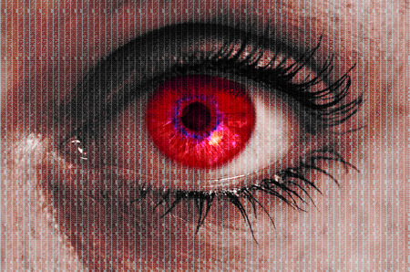 looking at viewer: futuristic red eye with matrix texture looking at viewer.