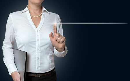 touchscreen: empty touchscreen is operated by businesswoman background.