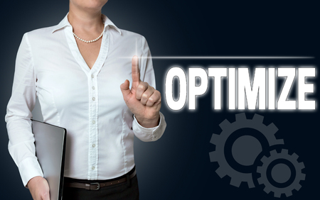 touchscreen: optimize touchscreen is operated by businesswoman.