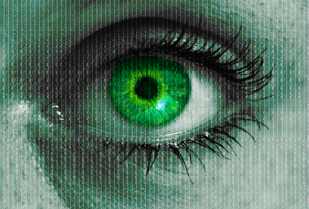 futuristic eye: futuristic eye with matrix texture looking at viewer concept.