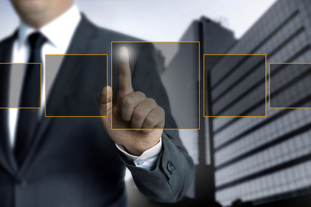 Man pointing on touch screen concept