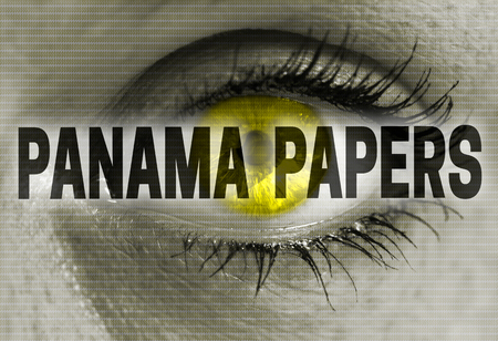 panama papers eye looks at viewer concept.