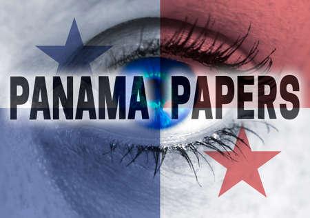 bandera de panama: Panam� documentos ojo mira al concepto de espectador.