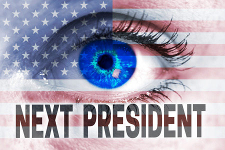 see the usa: next president with usa flag and eye looks at viewer concept.