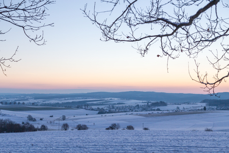 morning blue hour: Winter landscape in Germany in the morning at the blue hour. Stock Photo