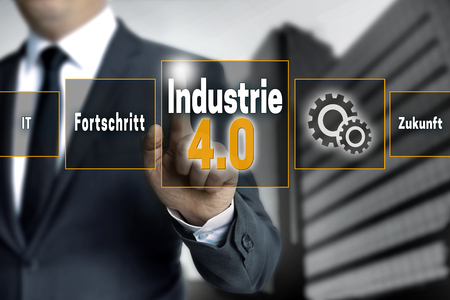 industrie: Industrie 4.0 in german industry touchscreen is operated by businessman background.