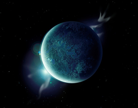 aura: green planet in the universe with aura and stars.