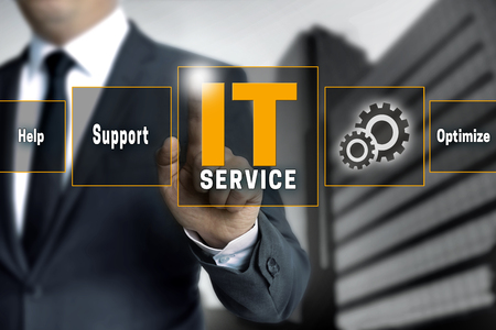 business service: it service optimize support help touchscreen is operated by businessman. Stock Photo