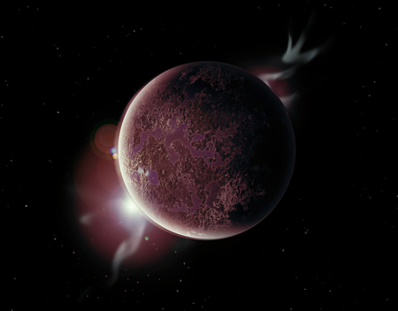 aura: red planet in the universe with aura and stars.