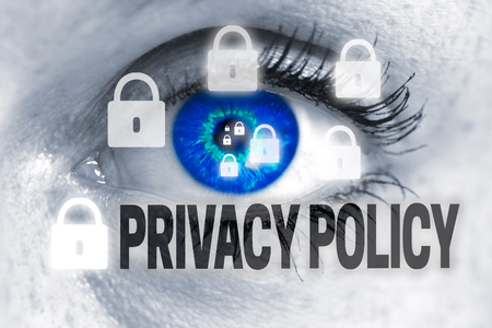 Privacy Policy eye looks at viewer concept.