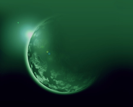 aura sun: green planet 3d illustration in universe concept. Stock Photo