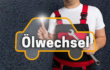 operated: oelwechsel (in german oil change) touchscreen is operated by car mechanics.