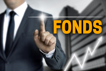 touchscreen: Fonds (in german fund) touchscreen is operated by businessman. Stock Photo