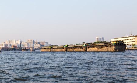 chao phraya: Chao Phraya river in Bangkok with cargo ship.