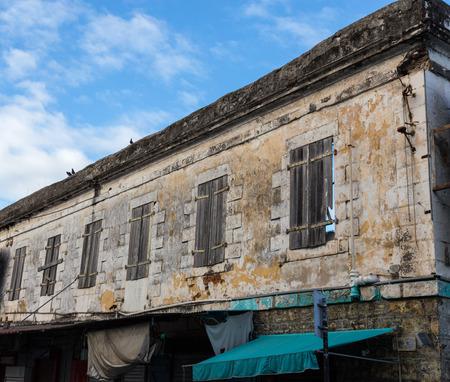 louis: Historic facade in port louis mauritius.