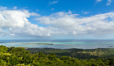 aux: View on La Gaulette Mauritius from Plaine Champagne. Stock Photo