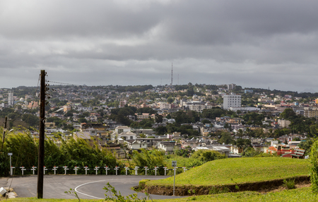aux: View on Curepipe from Trou aux Cerfs in Mauritius. Stock Photo