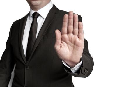 showed: Handstop showed by businessman. Stock Photo