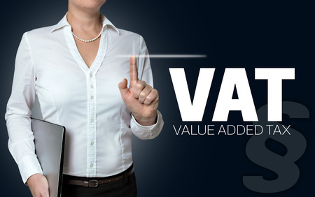 vat: vat touchscreen is operated by businesswoman.