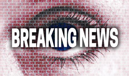 breaking news: Breaking news eye looks at viewer concept.