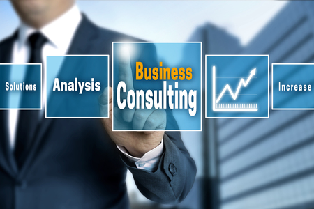 Business Consulting touchscreen concept background. Stock Photo