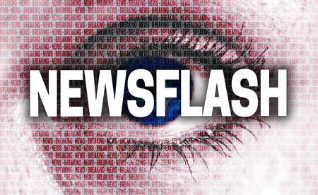 newsflash: newsflash eye looks at viewer concept.