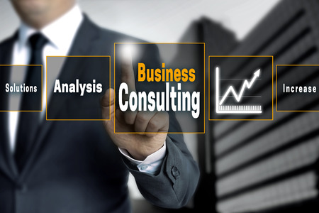 reestablishment: Business Consulting touchscreen concept background. Stock Photo