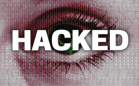 hacked eye looks at viewer concept. Stock Photo