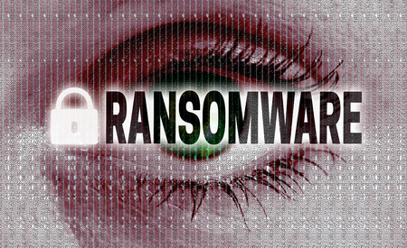encoded: ransomware eye looks at viewer concept.