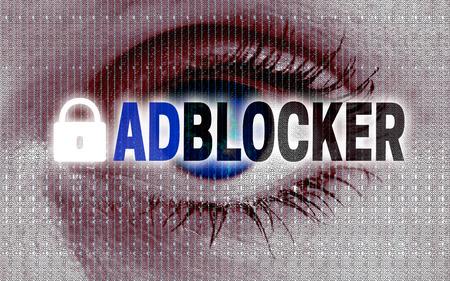 adblocker eye looks at viewer concept.