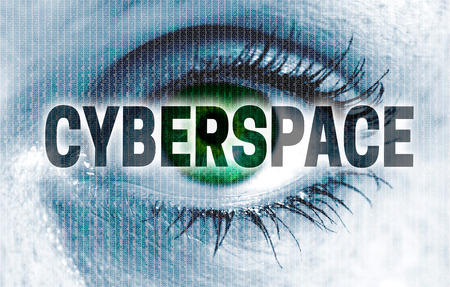 viewer: cyberspace eye looks at viewer concept. Stock Photo