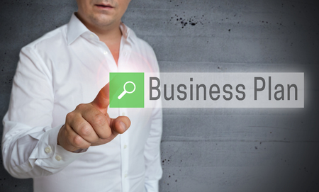 businessplan: Business Plan browser is operated by man concept.