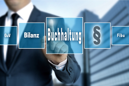 Buchhaltung (in german accounting, balance, financial accounting, profit)  touchscreen concept background. Standard-Bild