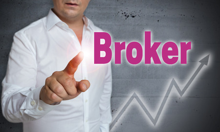 broker: Broker touchscreen is operated by man.