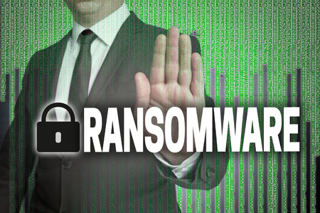 Ransomware with matrix is shown by businessman.