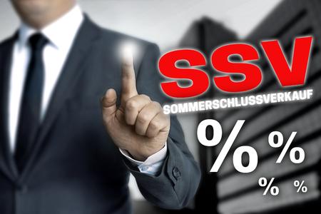 specials: ssv sommerschlussverkauf (in german summer clearance sale) touchscreen is operated by businessman.