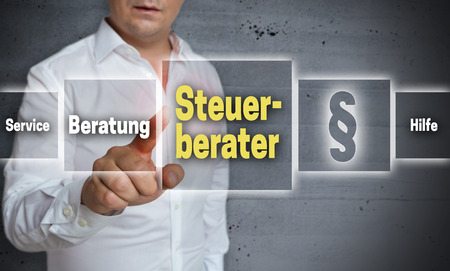 Steuerberater (in german tax consultant, advice, help) touchscreen concept background.